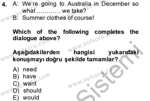 Ingilizce 2 Dersi 2014 - 2015 Yılı (Final) Dönem Sonu Sınavı 4. Soru