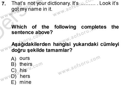 Ingilizce 2 Dersi Tek Ders Sınavı Deneme Sınav Soruları 7. Soru