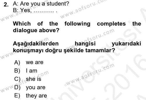 Ev İdaresi Bölümü 2. Yarıyıl Ingilizce II Dersi 2016 Yılı Bahar Dönemi Ara Sınavı 2. Soru