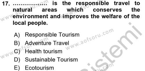 Turizm Için Ingilizce 2 Dersi Ara Sınavı Deneme Sınav Soruları 17. Soru