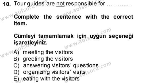 Turizm İçin İngilizce 2 Dersi Ara Sınavı Deneme Sınav Soruları 10. Soru