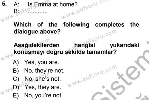 Ingilizce 1 Dersi Ara Sınavı Deneme Sınav Soruları 5. Soru