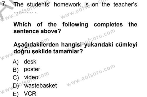 Ingilizce 1 Dersi Ara Sınavı Deneme Sınav Soruları 7. Soru