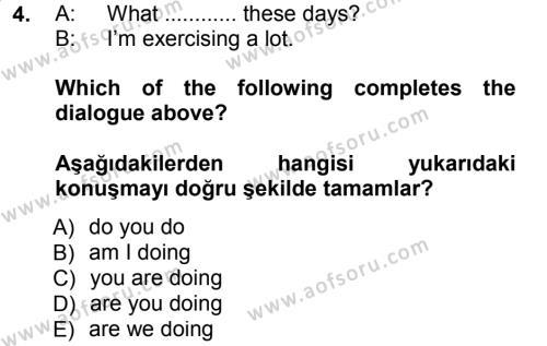 Ingilizce 1 Dersi 2012 - 2013 Yılı Dönem Sonu Sınavı 4. Soru