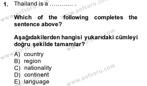 Ingilizce 1 Dersi 2014 - 2015 Yılı Tek Ders Sınavı 1. Soru