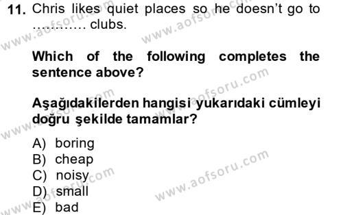 Ingilizce 1 Dersi Tek Ders Sınavı Deneme Sınav Soruları 11. Soru