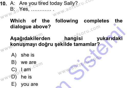 Ingilizce 1 Dersi Ara Sınavı Deneme Sınav Soruları 10. Soru