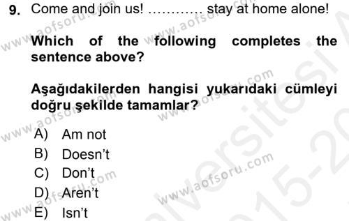 Ingilizce 1 Dersi Tek Ders Sınavı Deneme Sınav Soruları 9. Soru