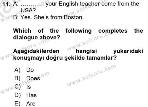 Ingilizce 1 Dersi Ara Sınavı Deneme Sınav Soruları 11. Soru
