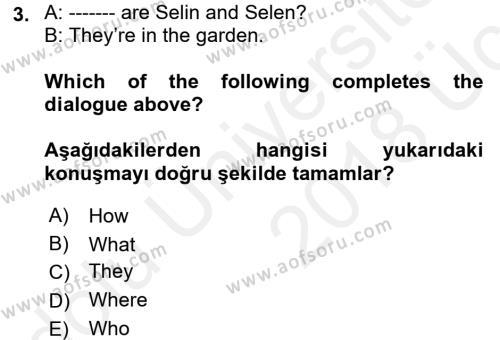 Ingilizce 1 Dersi 2017 - 2018 Yılı 3 Ders Sınav Soruları 3. Soru