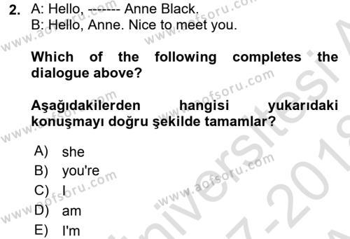 Ingilizce 1 Dersi Ara Sınavı Deneme Sınav Soruları 2. Soru