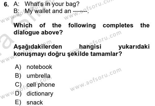 Ingilizce 1 Dersi Ara Sınavı Deneme Sınav Soruları 6. Soru