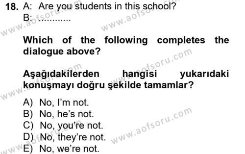 Ingilizce 2 Dersi Ara Sınavı Deneme Sınav Soruları 18. Soru