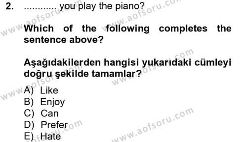 Felsefe Bölümü 6. Yarıyıl Ingilizce II Dersi 2013 Yılı Bahar Dönemi Ara Sınavı 2. Soru