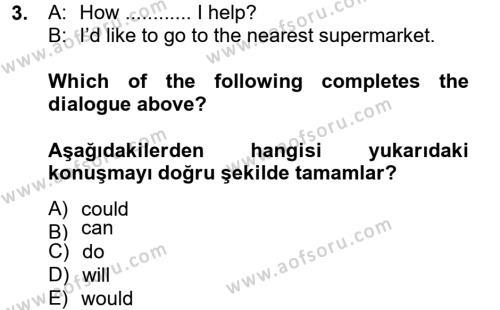Ingilizce 2 Dersi 2012 - 2013 Yılı Ara Sınavı 3. Soru