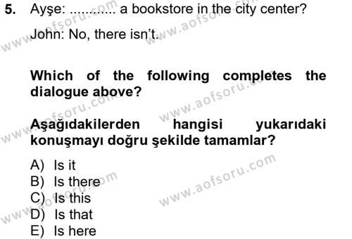 Sosyoloji Bölümü 6. Yarıyıl Ingilizce II Dersi 2013 Yılı Bahar Dönemi Ara Sınavı 5. Soru