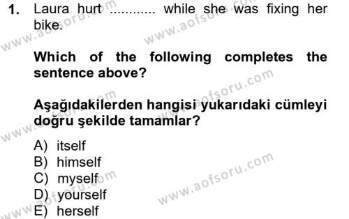Ingilizce 2 Dersi 2012 - 2013 Yılı (Final) Dönem Sonu Sınav Soruları 1. Soru