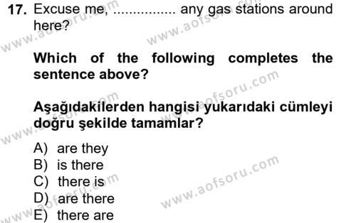 Ingilizce 2 Dersi Ara Sınavı Deneme Sınav Soruları 17. Soru