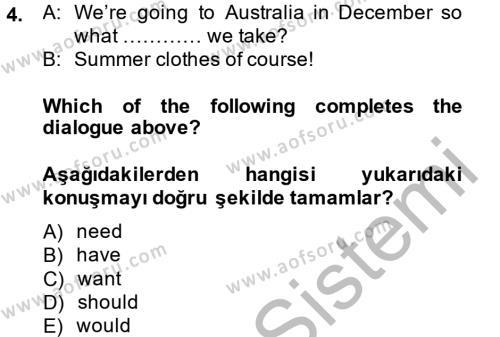 Ingilizce 2 Dersi 2014 - 2015 Yılı Dönem Sonu Sınavı 4. Soru