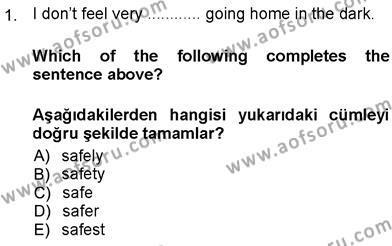 İngilizce 3 Dersi 2012 - 2013 Yılı Ara Sınavı 1. Soru