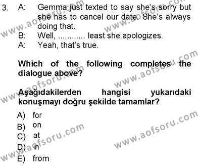 İngilizce 3 Dersi 2012 - 2013 Yılı Ara Sınavı 3. Soru