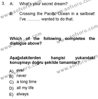 İngilizce 3 Dersi 2012 - 2013 Yılı Dönem Sonu Sınavı 3. Soru