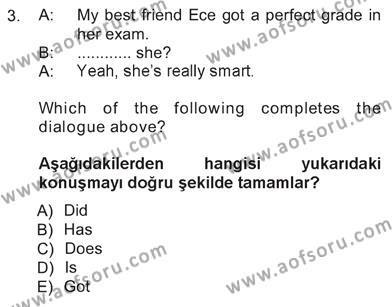 İngilizce 3 Dersi 2012 - 2013 Yılı Tek Ders Sınavı 3. Soru