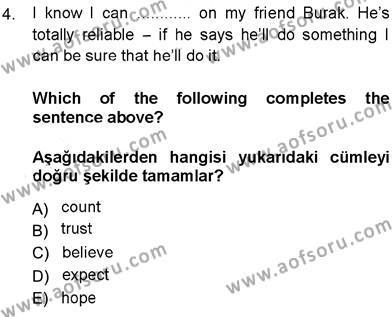 İngilizce 3 Dersi 2013 - 2014 Yılı Ara Sınavı 4. Soru