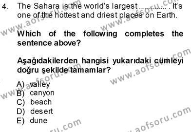 Sosyoloji Bölümü 7. Yarıyıl İngilizce III Dersi 2014 Yılı Güz Dönemi Dönem Sonu Sınavı 4. Soru
