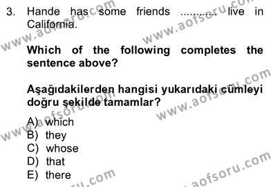 İngilizce 4 Dersi 2012 - 2013 Yılı Ara Sınavı 3. Soru