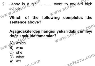 İngilizce 4 Dersi 2012 - 2013 Yılı Dönem Sonu Sınavı 2. Soru