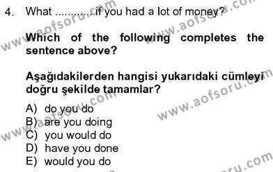 İngilizce 4 Dersi 2012 - 2013 Yılı Dönem Sonu Sınavı 4. Soru