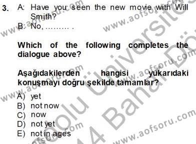 İngilizce 4 Dersi 2013 - 2014 Yılı Dönem Sonu Sınavı 3. Soru