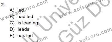 İngilizce Öğretmenliği Bölümü 1. Yarıyıl Bağlamsal Dilbilgisi I Dersi 2014 Yılı Güz Dönemi Dönem Sonu Sınavı 2. Soru