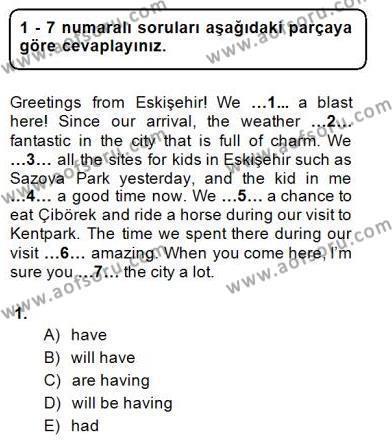 İngilizce Öğretmenliği Bölümü 1. Yarıyıl Bağlamsal Dilbilgisi I Dersi 2015 Yılı Güz Dönemi Ara Sınavı 1. Soru