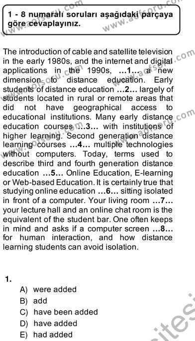 İngilizce Öğretmenliği Bölümü 2. Yarıyıl Bağlamsal Dilbilgisi II Dersi 2014 Yılı Bahar Dönemi Ara Sınavı 1. Soru