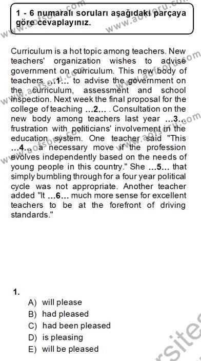 İngilizce Öğretmenliği Bölümü 2. Yarıyıl Bağlamsal Dilbilgisi II Dersi 2014 Yılı Bahar Dönemi Dönem Sonu Sınavı 1. Soru