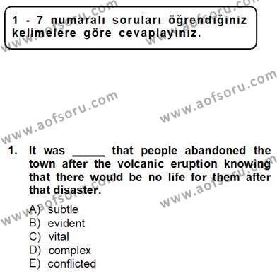 Okuma Ve Yazma Becerileri 2 Dersi 2012 - 2013 Yılı Dönem Sonu Sınavı 1. Soru