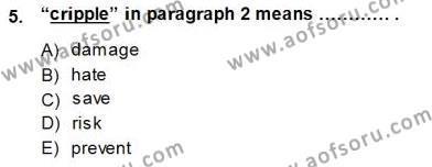 İngilizce Öğretmenliği Bölümü 2. Yarıyıl Okuma Ve Yazma Becerileri II Dersi 2015 Yılı Bahar Dönemi Dönem Sonu Sınavı 5. Soru