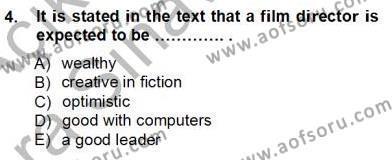İleri Okuma Ve Yazma Becerileri 1 Dersi 2012 - 2013 Yılı Ara Sınavı 4. Soru
