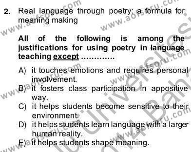 İngilizce Öğretmenliği Bölümü 4. Yarıyıl İleri Okuma Ve Yazma Becerileri II Dersi 2014 Yılı Bahar Dönemi Ara Sınavı 2. Soru