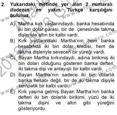 İngilizce Öğretmenliği Bölümü 3. Yarıyıl Çeviri (İng/Türk) Dersi 2013 Yılı Güz Dönemi Dönem Sonu Sınavı 2. Soru