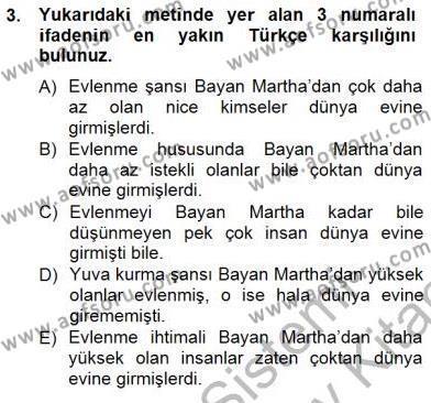 İngilizce Öğretmenliği Bölümü 3. Yarıyıl Çeviri (İng/Türk) Dersi 2013 Yılı Güz Dönemi Dönem Sonu Sınavı 3. Soru