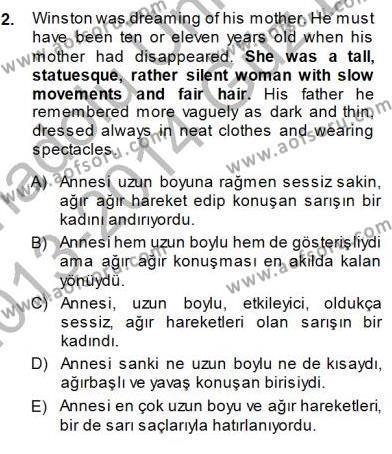 İngilizce Öğretmenliği Bölümü 3. Yarıyıl Çeviri (İng/Türk) Dersi 2014 Yılı Güz Dönemi Dönem Sonu Sınavı 2. Soru