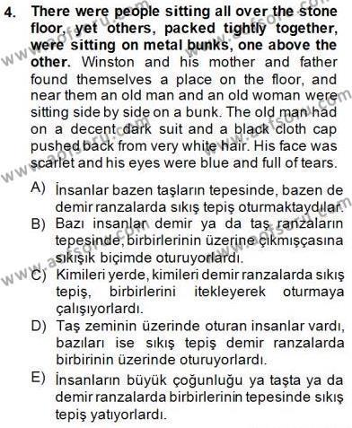 İngilizce Öğretmenliği Bölümü 3. Yarıyıl Çeviri (İng/Türk) Dersi 2014 Yılı Güz Dönemi Dönem Sonu Sınavı 4. Soru