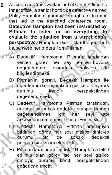 İngilizce Öğretmenliği Bölümü 3. Yarıyıl Çeviri (İng/Türk) Dersi 2015 Yılı Güz Dönemi Dönem Sonu Sınavı 2. Soru