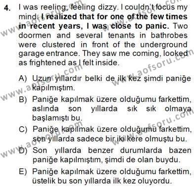 İngilizce Öğretmenliği Bölümü 3. Yarıyıl Çeviri (İng/Türk) Dersi 2015 Yılı Güz Dönemi Dönem Sonu Sınavı 4. Soru