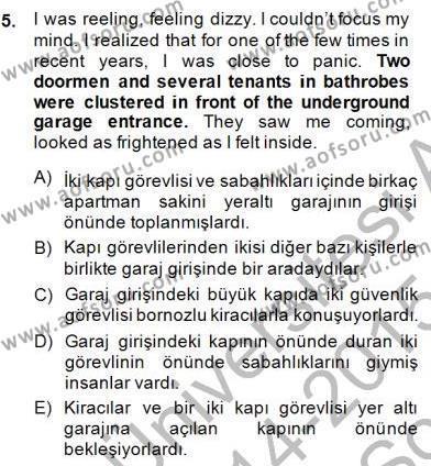 İngilizce Öğretmenliği Bölümü 3. Yarıyıl Çeviri (İng/Türk) Dersi 2015 Yılı Güz Dönemi Dönem Sonu Sınavı 5. Soru