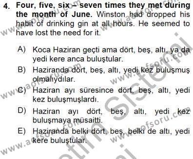 İngilizce Öğretmenliği Bölümü 3. Yarıyıl Çeviri (İng/Türk) Dersi 2016 Yılı Güz Dönemi Dönem Sonu Sınavı 4. Soru