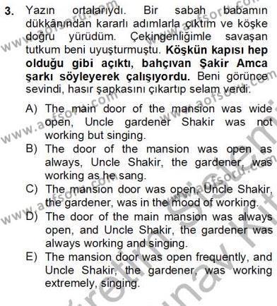 Çeviri (Türk/İng) Dersi 2012 - 2013 Yılı Dönem Sonu Sınavı 3. Soru